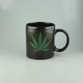 Black Hemp Leaf Design Ceramic Mug