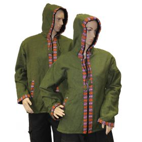 Army Green Bhutan Trimmed Jacket