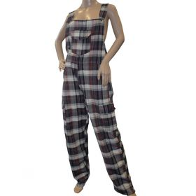 Greyjoy Funky Chequered Cotton Dungarees