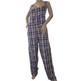 Bajoran Funky Chequered Cotton Dungarees
