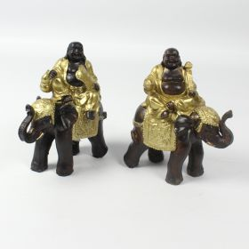 Gold & Brown Laughing Buddha Riding Elephant - Pair