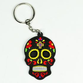 Rubber Skull Keyring - Black & Yellow