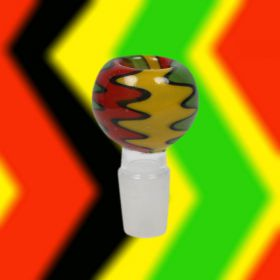 Rasta Zigzag Glass Bong Replacement Bowl - 18mm