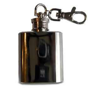 Keyring 1oz Stainless Steel Hip Flask