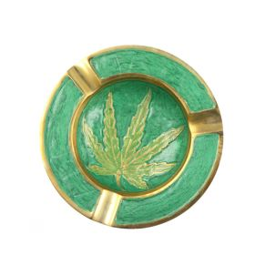 Leaf Design Brass Ashtray - Small