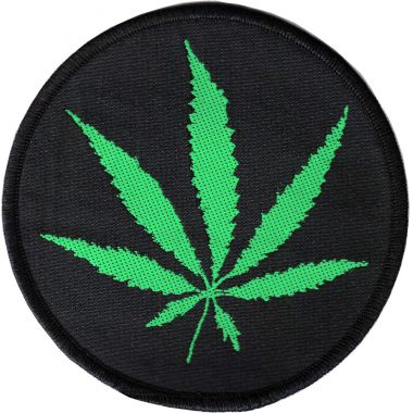 Hemp Leaf Circular Patch
