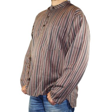 Mainwairing Striped Granddad Shirt - Extra Large