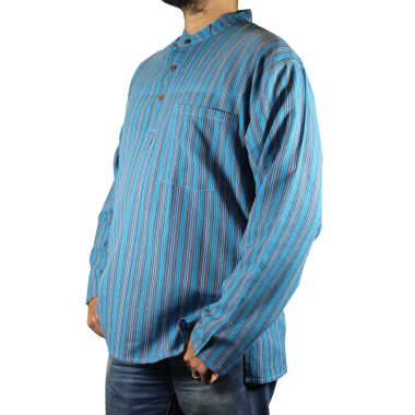 Pike Striped Granddad Shirt - Extra Large
