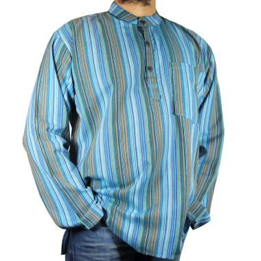 Walker Striped Granddad Shirt - Large