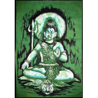 Shiva on Tiger Skin Batik Small