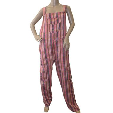Cardassian Funky Chequered Cotton Dungarees