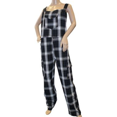 Stark Funky Chequered Cotton Dungarees