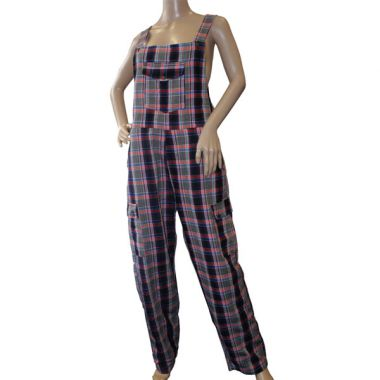 Nymphadora Funky Chequered Cotton Dungarees