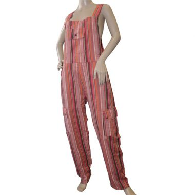 Mellark Funky Striped Cotton Dungarees