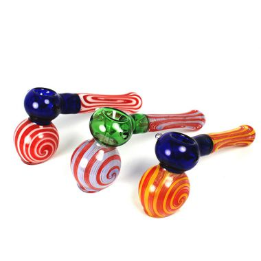 Coloured Glass Bubble Hammer Pipe