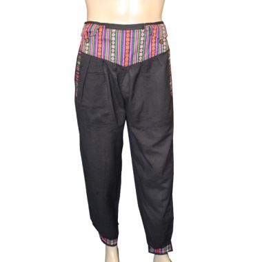 Bhutan Trimmed Black Cotton Trousers