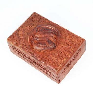 Large Carved Wooden Flower Lock Boxes - Yin Yang
