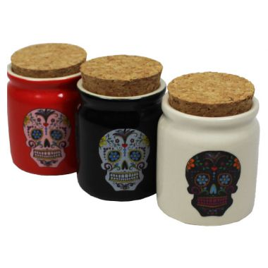 Ceramic Sugar Skull Storage Pot