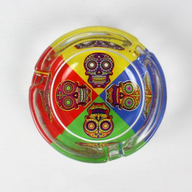 Day of the Dead Glass Ashtrays - Multicoloured