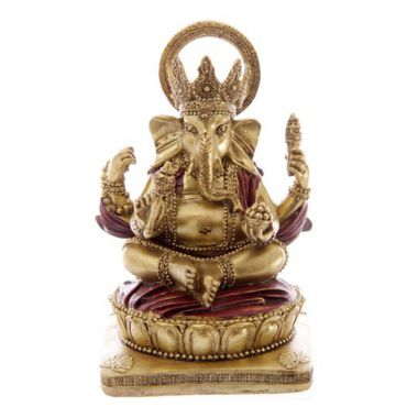 14cm Gold & Red Ganesh Statue
