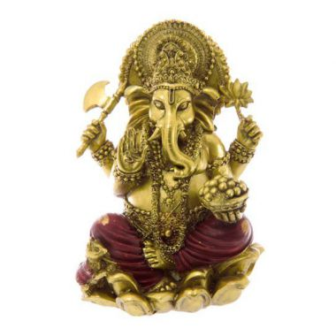 16cm Red & Gold Ganesh Statue