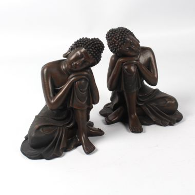 Wood Effect Small Thai Buddha Figurines - Head on Knee - Pair