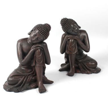 Wood Effect Large Thai Buddha Figurines - Head on Knee - Pair