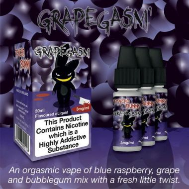 Psycho Bunny Grapegasm 3x10ml (Blue Raspberry, Grape & Bubblegum with a fresh twist)