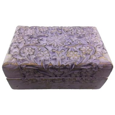 Lavender Weathered Wood Jewellery Box