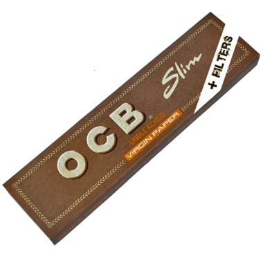 OCB Virgin Unbleached Kingsize Slim Papers & Tips