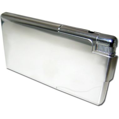 Cigarette Case with Lighter - Highly Polished Chrome