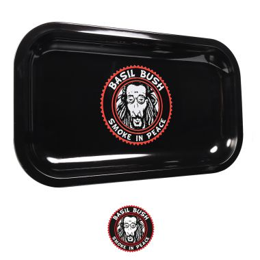 Basil Bush Black Gloss Metal Rolling Tray