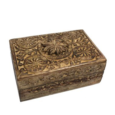 Medium Carved Wooden Flower Lock Boxes - Leaf