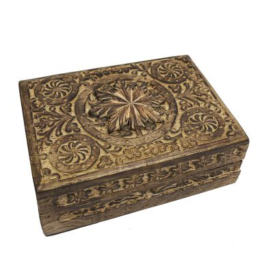 Large Carved Wooden Flower Lock Boxes - Leaf