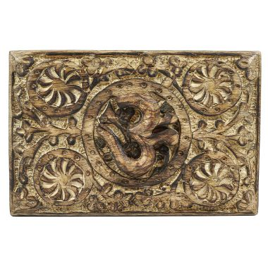 Medium Carved Wooden Flower Lock Boxes - Om