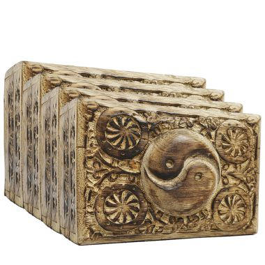 Medium Carved Wooden Flower Lock Boxes