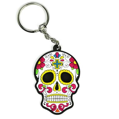 Rubber Skull Keyring - White & Yellow