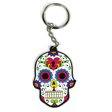 Rubber Skull Keyring - White & Blue