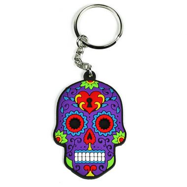 Rubber Skull Keyring - Purple