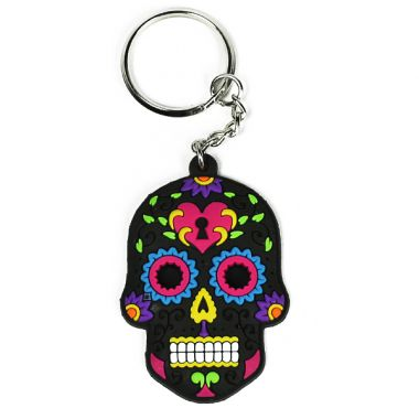 Rubber Skull Keyring - Black & Blue
