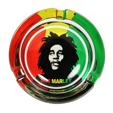 The Bob Marley Collection Glass Ashtrays - Rasta Stencil