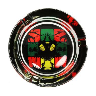 The Bob Marley Collection Glass Ashtrays - Rasta Peace