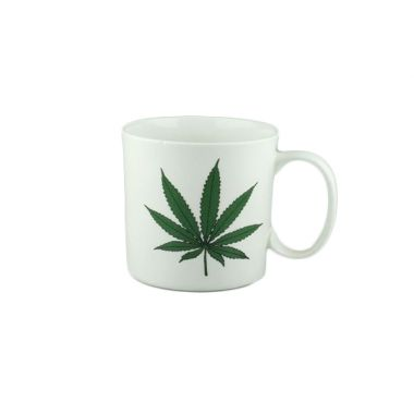 White Hemp Leaf Design Ceramic Mug