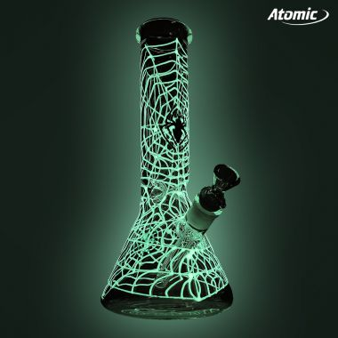 Atomic Glow in the Dark 'Spider Web' Glass Bong