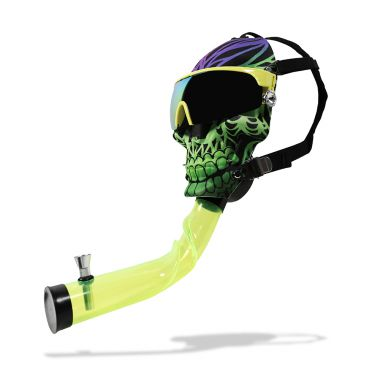 Skull with Shades Gas Mask Bong - Green