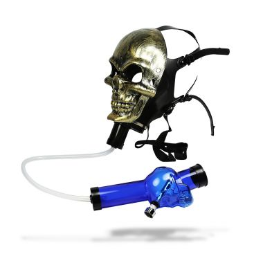 Metallic Skull Gas Mask Bong