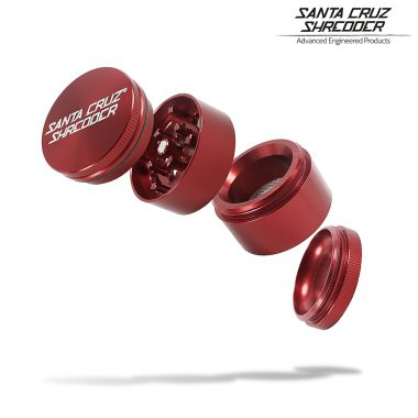 Santa Cruz Small 4-part (Red) Gloss Aluminum Shredder