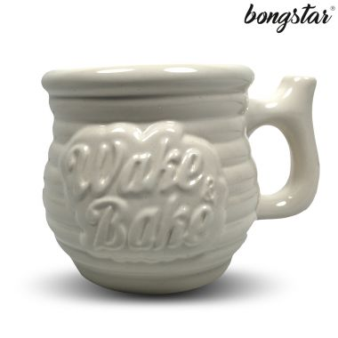 Bongstar Wake & Bake Ceramic Mug - White