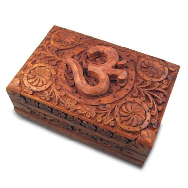 Large Carved Wooden Flower Lock Boxes - Om