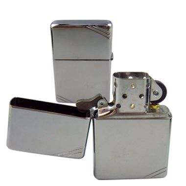 Vintage Striped Highly Polished Chrome Zippo